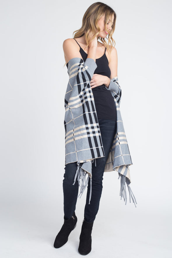 Women's Plaid Off Shoulder Fringe Cardigan