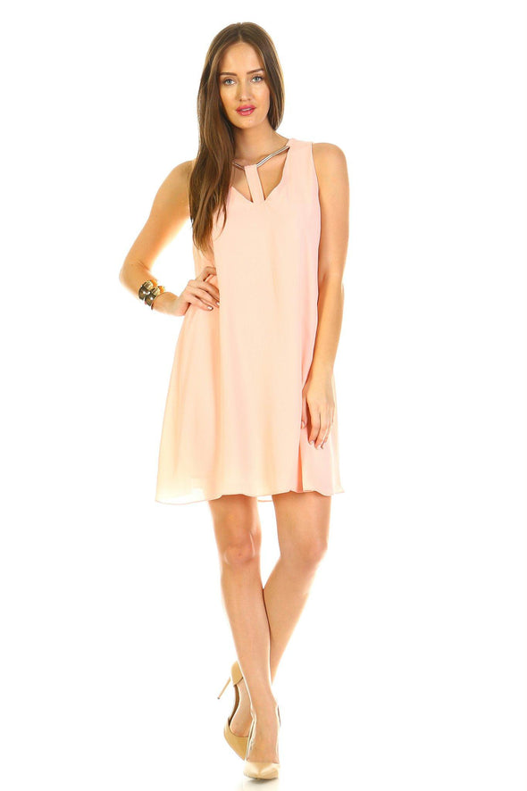 Women's Loose V-Neck Cut Out Dress with Gold Neckline