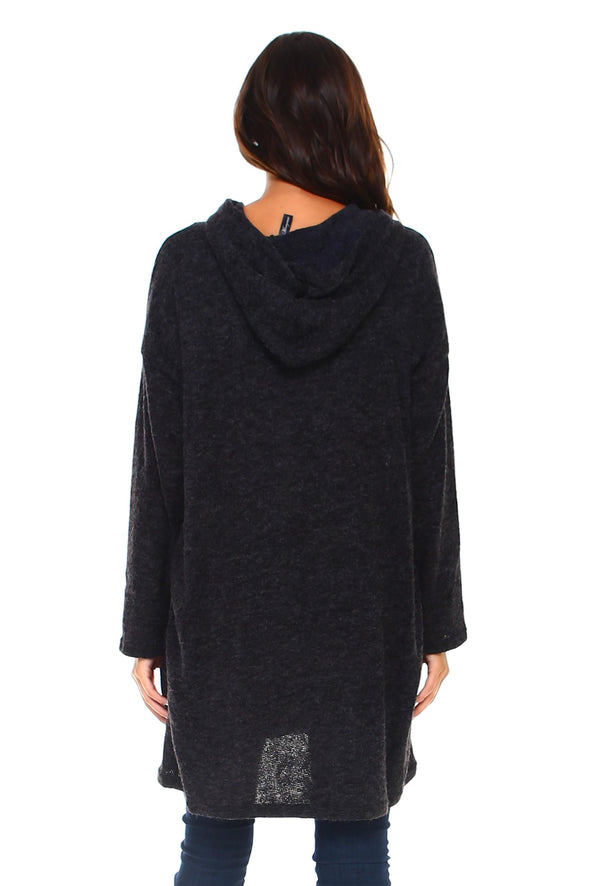 Women's Long Hooded Slit Sweater