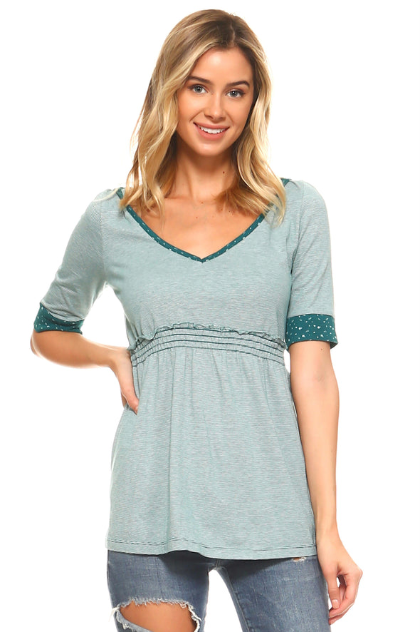 Women's Striped Hooded Babydoll Short Sleeve Top
