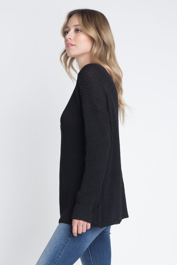 Women's Casual Loose Fit V-Neck Sweater