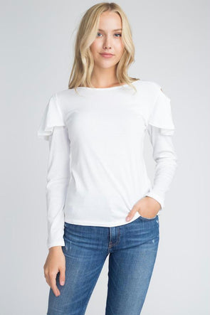 Women's Cold Shoulder Ruffle Long Sleeve Top
