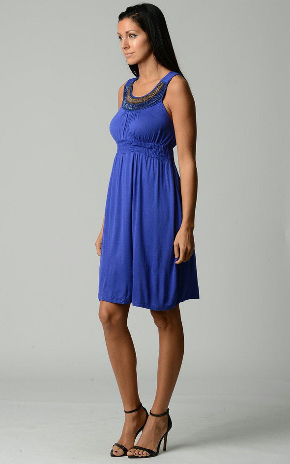 Women's Beaded Neckline Sleeveless Dress