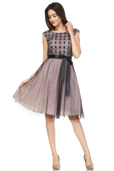 Women's A-Line Waist Tie Tulle Dress