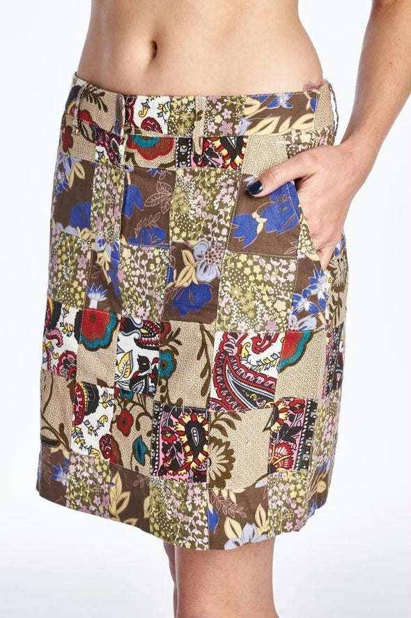 Women's Batik Printed Patchwork Skirt