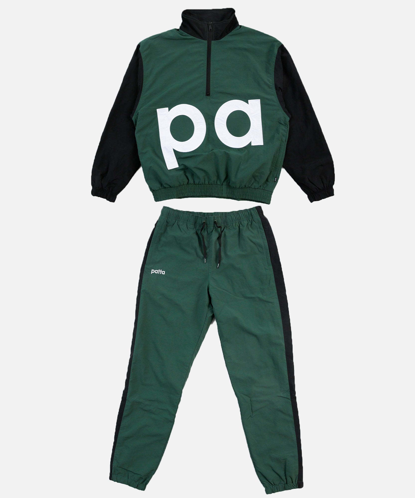 Patta Colour Block Relaxed Tracksuit (Dark Green/Black)