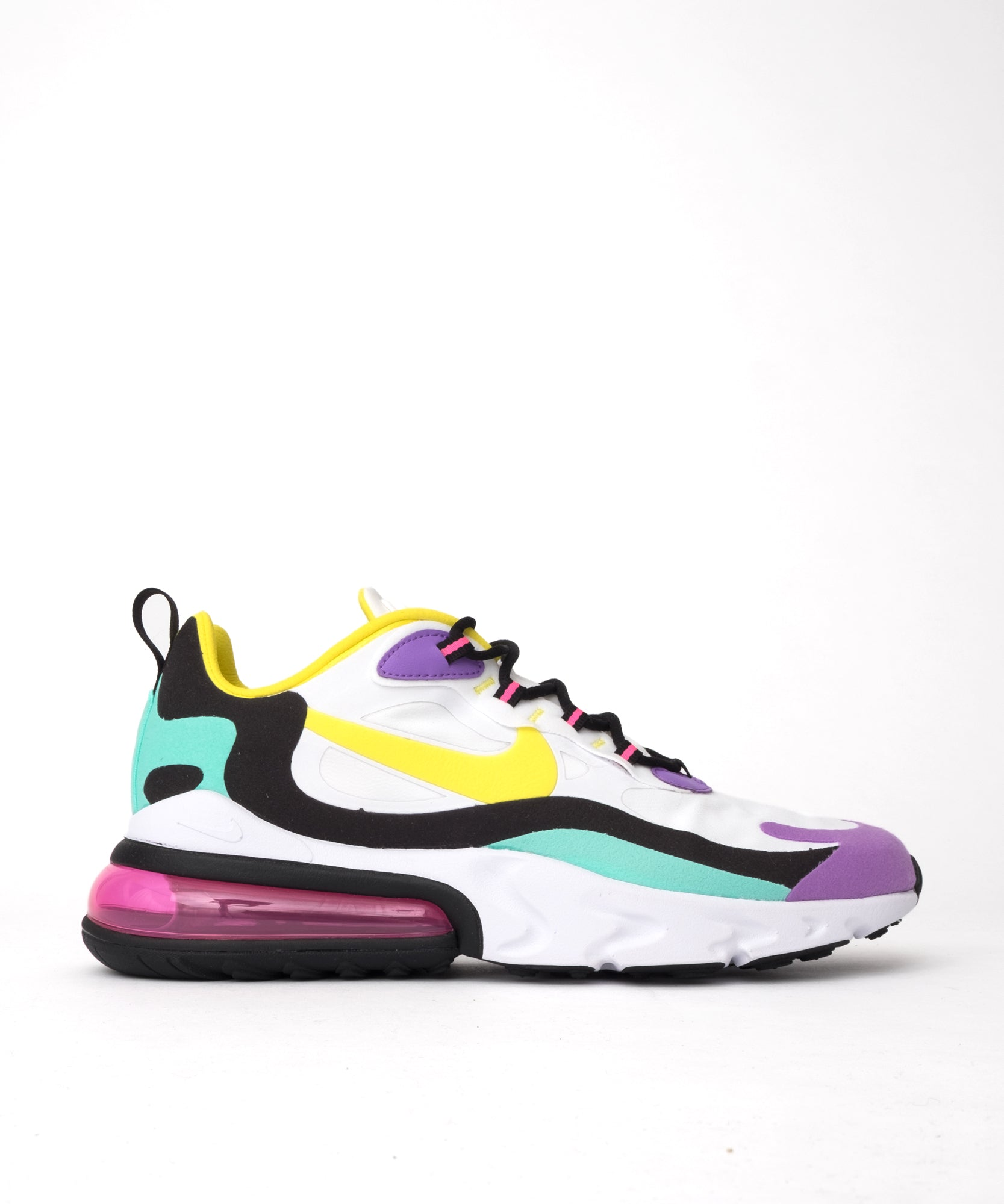 new style 79d33 17d17 Nike Air Max 270 React (White/Dynamic Yellow-Black-Bright Violet)