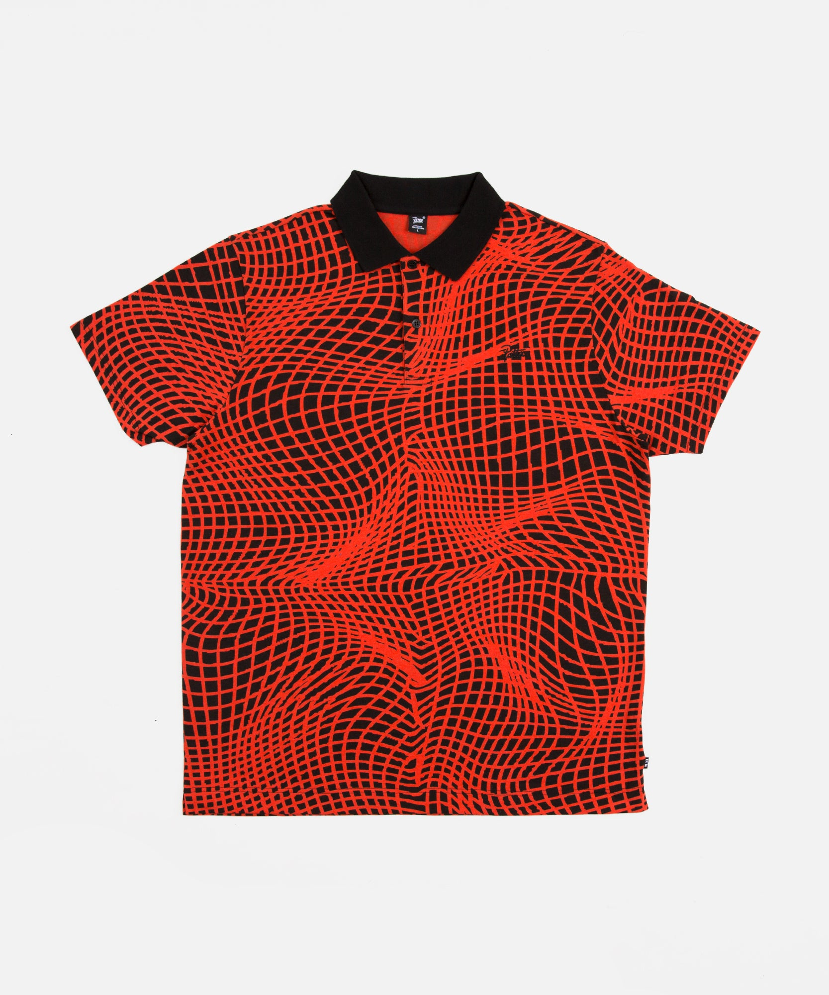 Patta Grid Shortsleeve Polo (Black/Fiery Red)