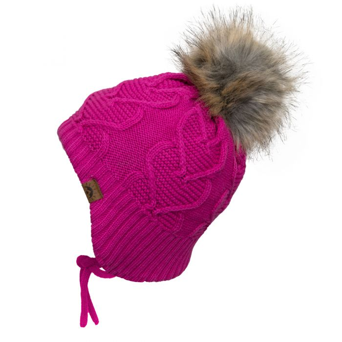 Calikids Heart Knit Teddy Lined Winter Hat - Cabaret W2027