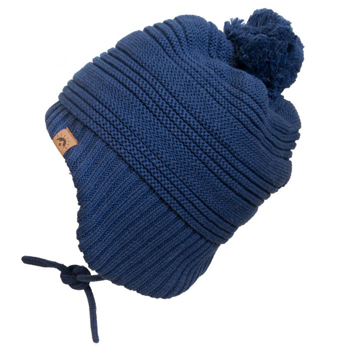Calikids Knit Teddy Lined Winter Hat - Navy W2025