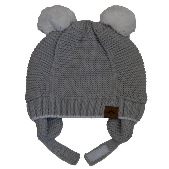 Calikids Cotton Knit Double Pompom Winter Hat - Light Grey W2002