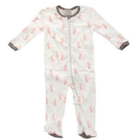 Silkberry Baby Organic Cotton Footed Sleeper - Blush bunny print CN8005_BB03M