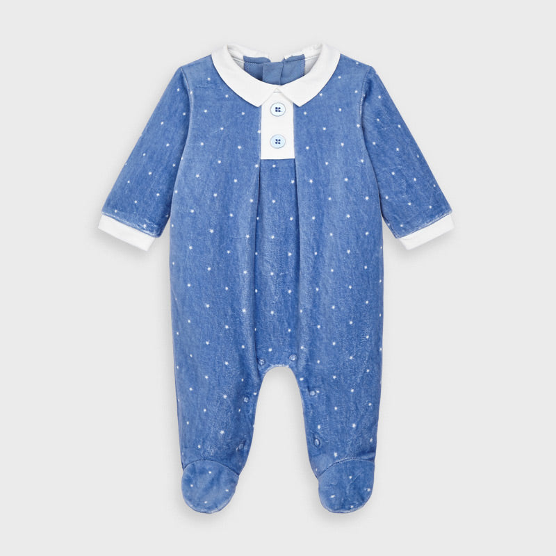 Mayoral Polka-dot velour onesie - Pacific 2765