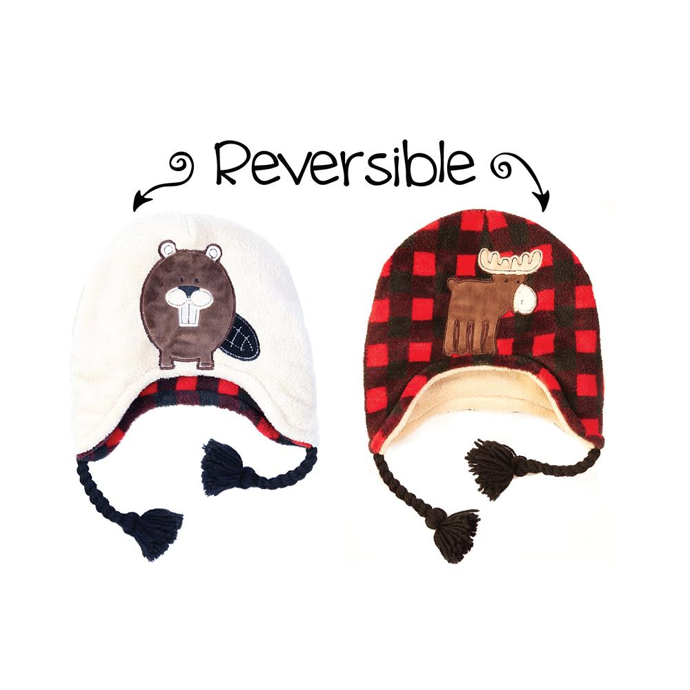 Flapjack Reversible Winter Hats Moose/Beaver Youth