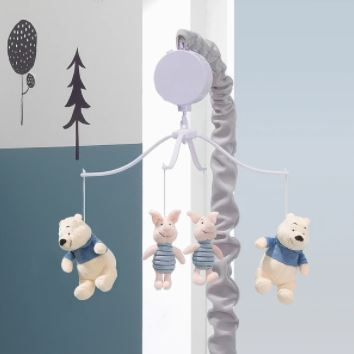 Lambs & Ivy Disney Baby Forever Pooh Gray/Beige Bear Musical Baby Crib Mobile 780018