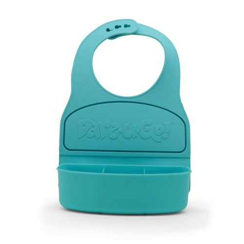 Dare U Go Waterproof Silicone Toddler Bib with Food Container - Turquoise