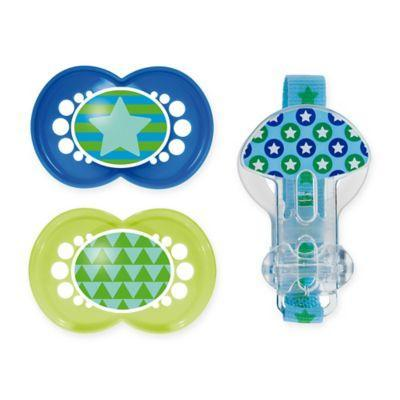 MAM Trends 2 Orthodontic Pacifiers 6+ months PLUS Clip -Boy
