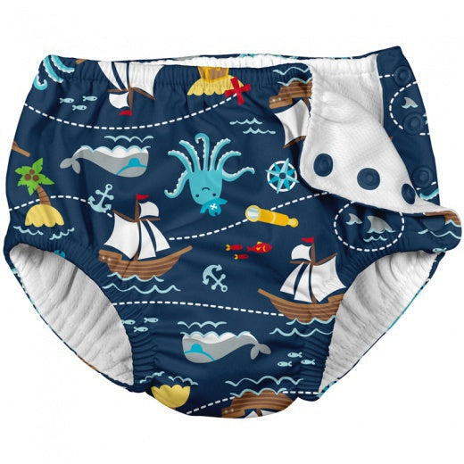 I Play Snap Reusable Absorbent Swimsuit Diaper - Navy Private Ship