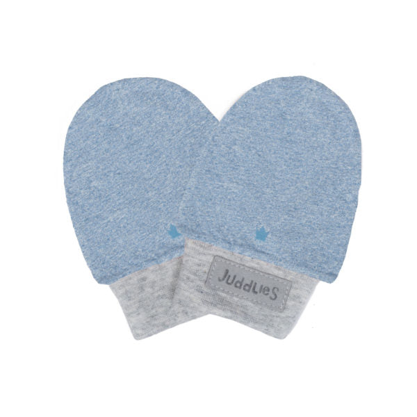 Juddlies Organic Raglan Scratch Mitts Denim Blue 0-3M
