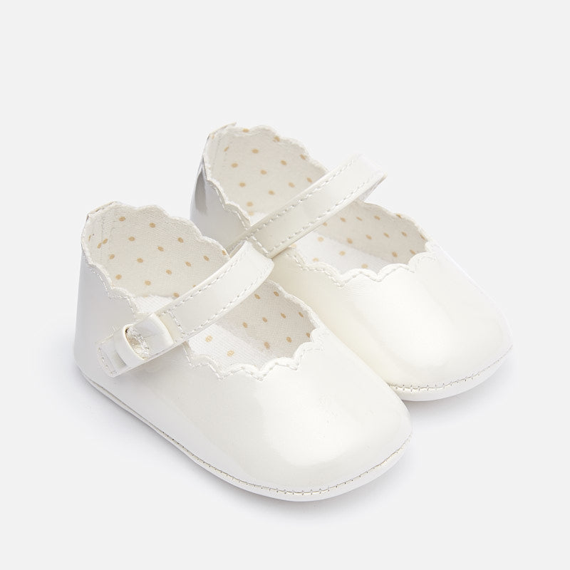 Mayoral Baby Paten leather mary jane shoes White