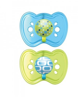 The First Years Gumdrop Orthodontic Pacifier 2pk-Blue/Green 0-6M