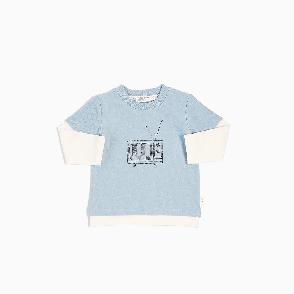 Miles Baby Baby Long Sleeve T-Shirt Knit Light Blue