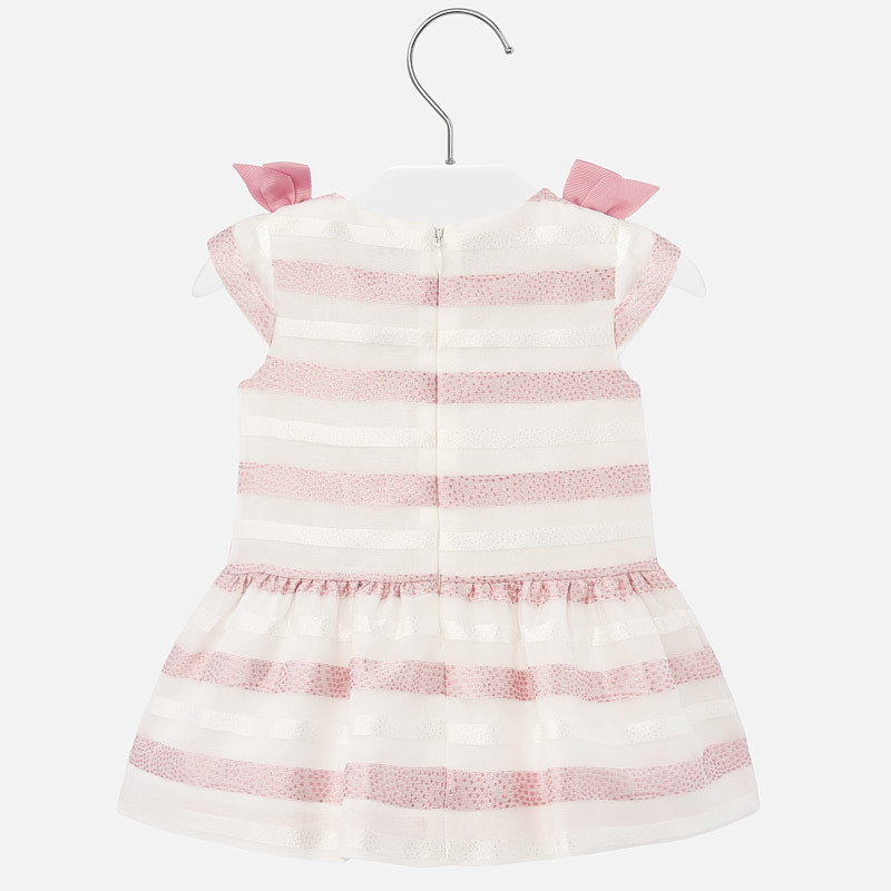 Mayoral Stripes Dress with Bows - Rosy