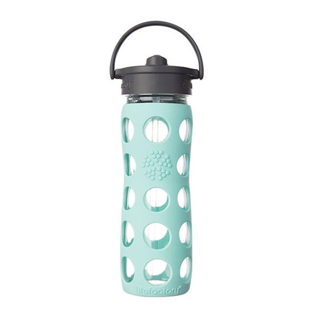 LifeFactory Reusable 12 oz Glass Bottle with Straw Cap - Turquoise