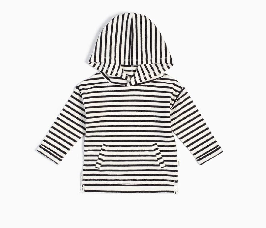 Miles Baby Sweater Shirt Knit BLACK & WHITE Striped Hoodie