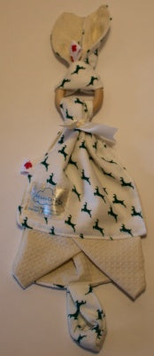 CosyCare Soothing Bunny & Burp Cloth Green Deer