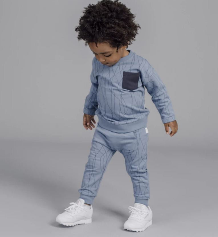 "Miles Baby Jogging Pants Dusty Blue ""SKI TRACKS"" Jogger"
