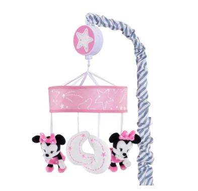 Lambs & Ivy Disney Baby Minnie Mouse Pink/Gray Musical Crib Mobile 820018