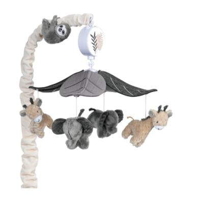 Lambs & Ivy Baby Jungle Animals Musical Crib Mobile Soother Toy - Gray/Tan  509118