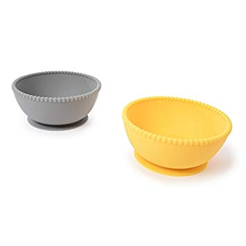 Chewbeads Silicone Bowl Set Grey/Yellow