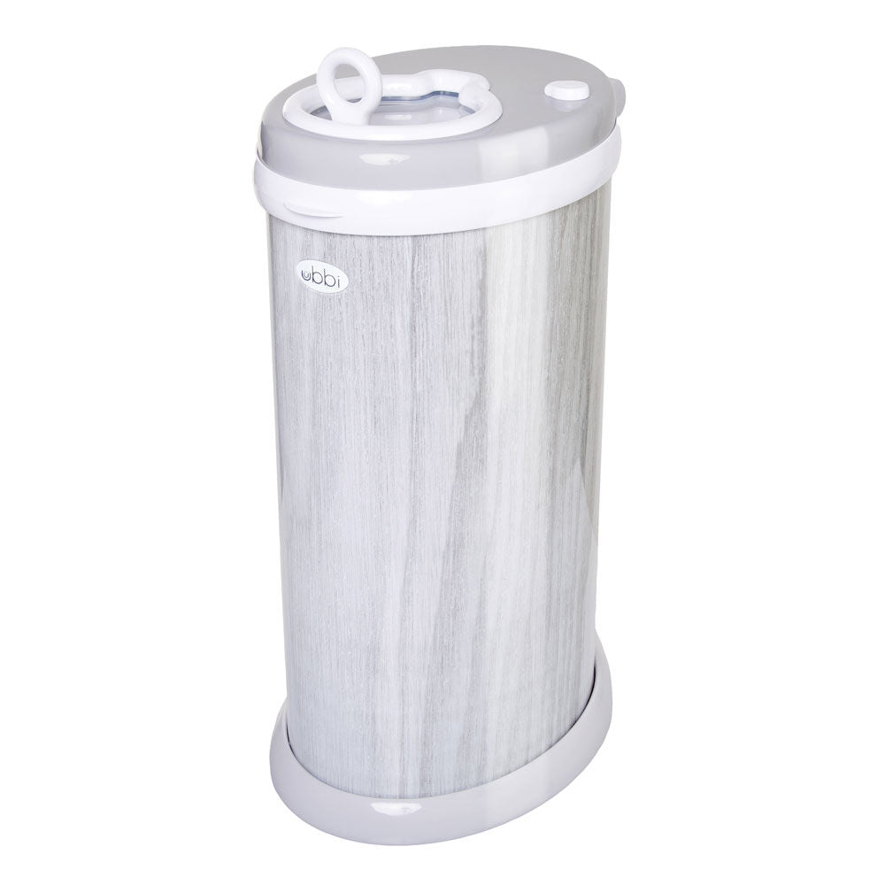 Ubbi Diaper Pail Grey Wood Grain