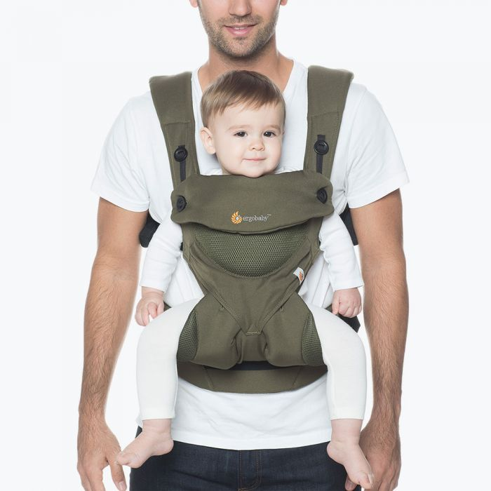 Ergo Baby Carrier 360 Cool Air Mesh Khaki Green (Get Free Teething Pad of $23 Value)