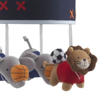 Lambs & Ivy Musical Baby Crib Mobile - Future All Star Blue Elephant and Lion Animal Sports 579018R
