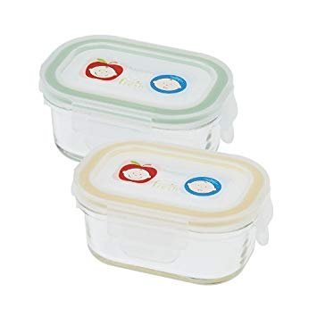 Innobaby Keepin' Glass Baby Food Storage 2PK - Yellow/Green