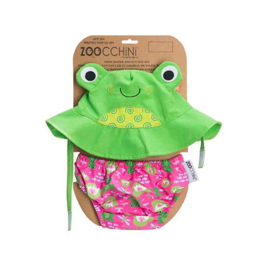 Zoocchini Two-Piece Frog Swim Diaper and Sun Hat Set