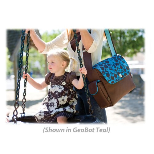 Fleurville Re-Run Messenger Diaper Bag - Geobot Chocolate with Teal Lining