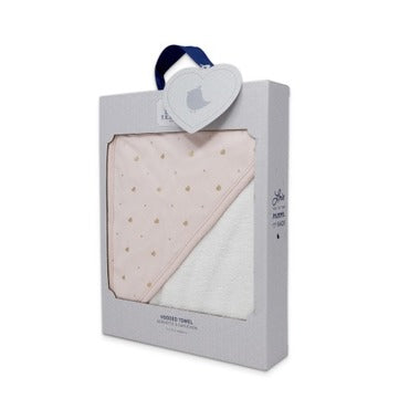 Living Textiles Pink Hooded Towel - Gold Heart