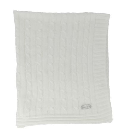Child To Cherish Cable Knit Blanket White