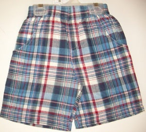 CR SPORTS Little Boys Pull On Plaid Shorts - New Blue