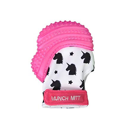 Munch Mitt Baby Teething Mitten Pink Unicorns