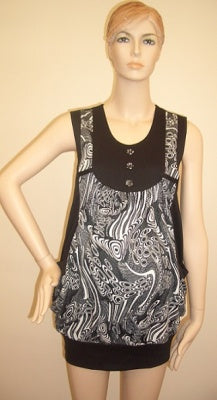 Sofi Co Tunic Top With Pockets - Black/White L