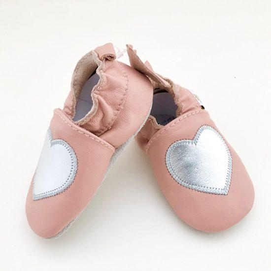 Tickle Toes Leather Shoes Pink with Silver Heart 6830