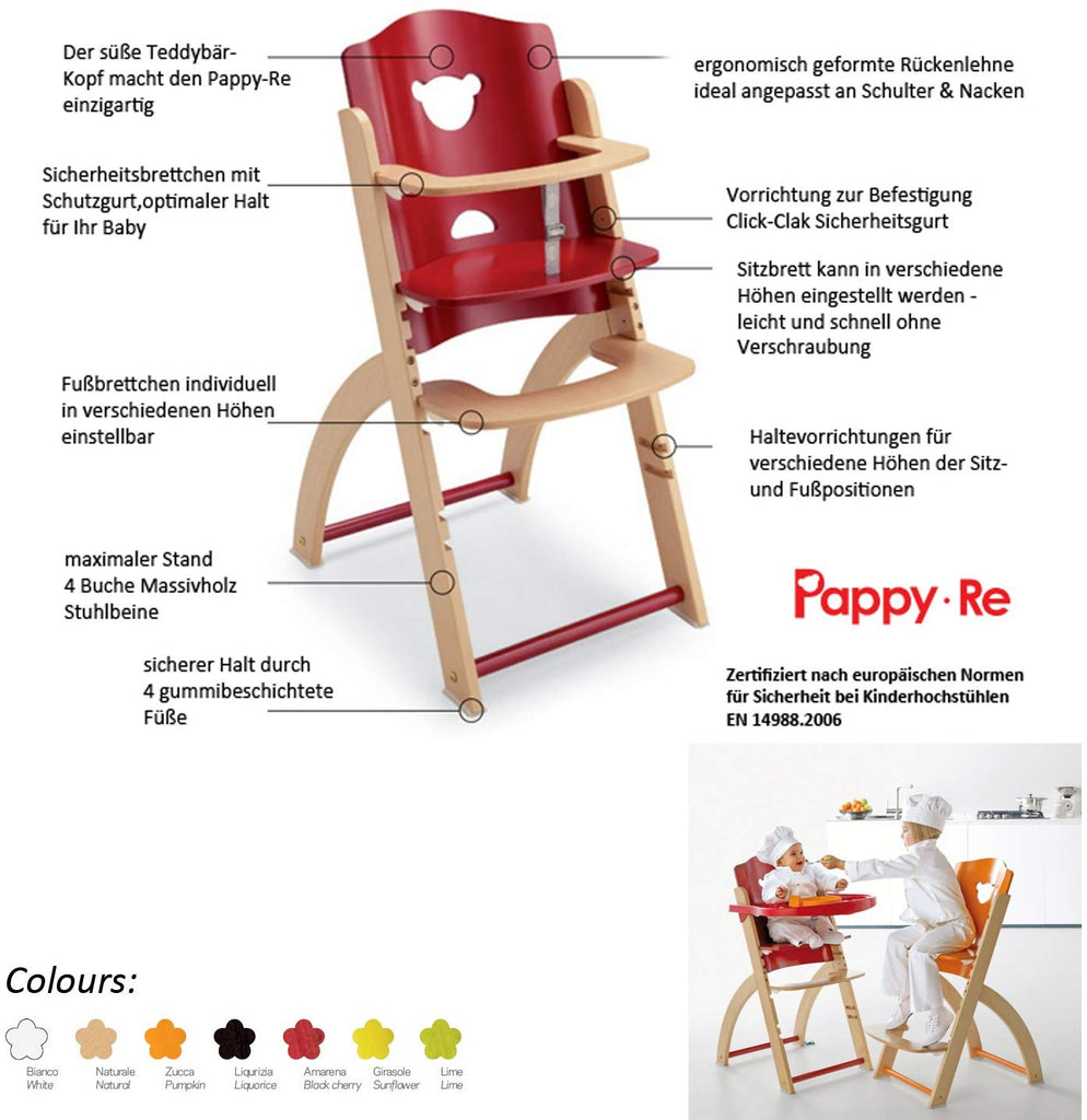 Pali High Chair Pappy Nat/Licorice