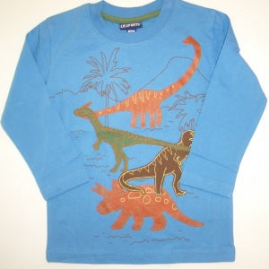 CR SPORTS Long Sleeve Dino Tee - New Blue 3T