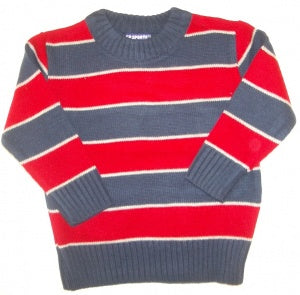 CR SPORTS Striped Acrylic Sweater - Red