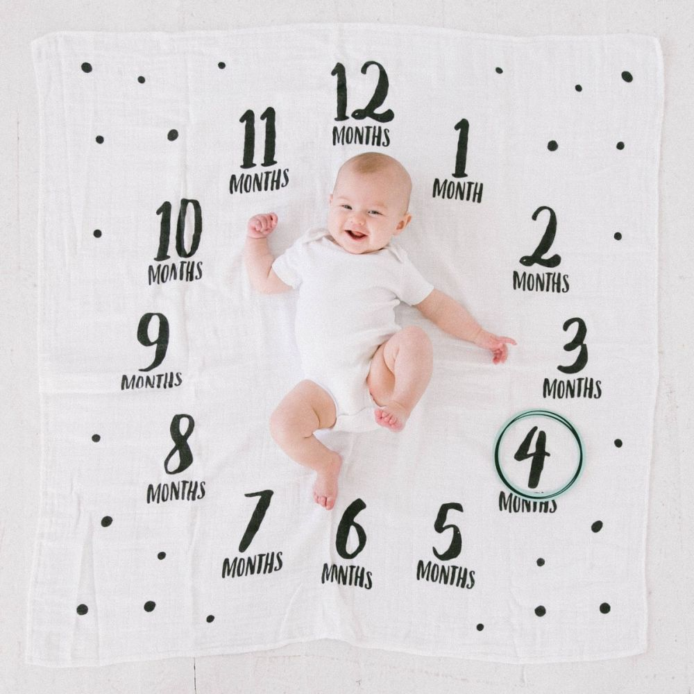 Pear Head Watch Me Grow Photo Blankets White/Black Feathers PH-73022